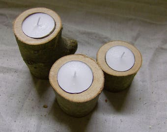 A set of three wood branch log tealight candle holders, natural, rustic