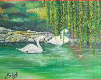 'Swan couple' painting in oil on canvas frame.