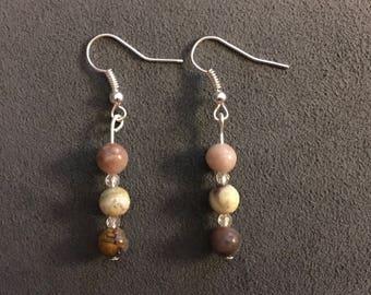 3 stone Jasper Dangle Drop Earrings Semi Precious