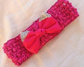 Pink Glitter Bow Headband for Babies