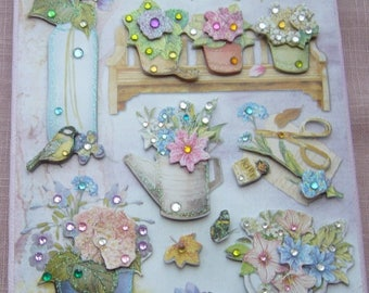 Painting on canvas hand made rhinestone 3D: making bouquets in the garden greenhouse