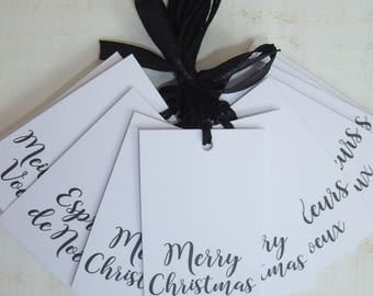 Set of 15 Tags labels Christmas white