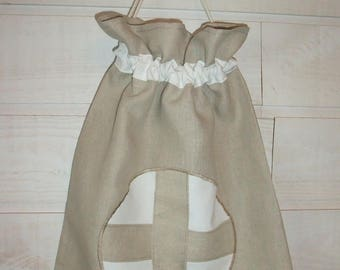 Lingerie bag / pouch (number 106) cross taupe & white