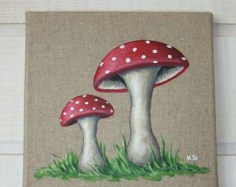 Linen mushroom painting