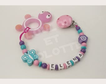 Soother/pacifier personalized silicone + Elena teething turtle/model ring
