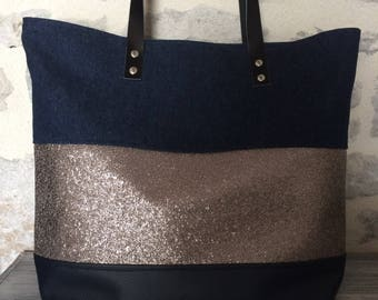 Leather and denim tote bag