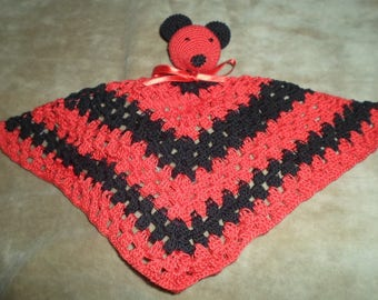Toy mouse red and black cotton