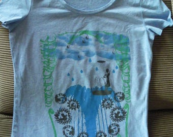 Heather blue woman hand cut tshirt