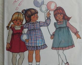 Girls Dress, Jumper Pattern - Vintage Butterick 3369 - Sizes 4 and 6