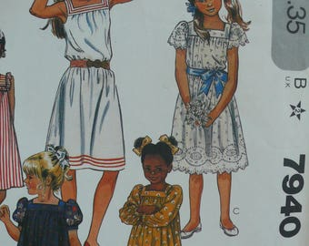 Girls Dress Pattern - Vintage McCalls Pattern 7940 - Size 7