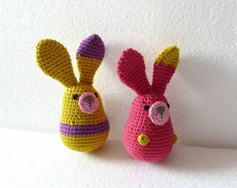 Crocheted blanket, crocheted set of two Easter bunnies
