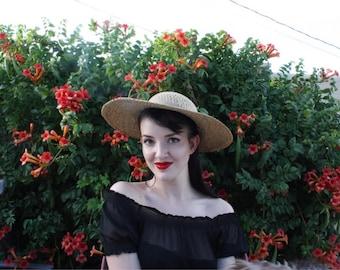 1950's Straw Sun Hat