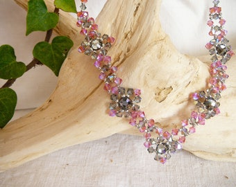 Necklace with gray and pink swarovski crystal beads