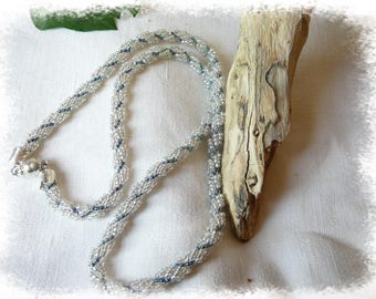 seed beads woven blue and Pearl Necklace