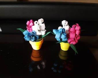 Handmade Quilling Miniature Flower Pots in 3D- Set of 2