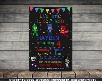 Pj Masks Invitation,Pj Masks Birthday,Pj Masks Birthday party,Pj Masks Party,Pj Masks Birthday party,Pj Masks Printable,Pj Masks-SL30
