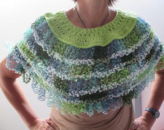 closed shawl wool, green blue women bolero crochet gift mothers day