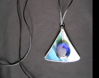 Mothers day gift, green and Blue Pearl with its glass pendant necklace attached