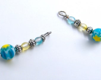 Designs - handmade - - spacer beads millefiori glass pendants silver - frosted glass - handmade - by 2.