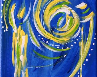 Blue, Yellow, Abstract Painting, Original Art, Acrylic Painting, Art, Fine Art, Contemporary Art, Modern Art, Art Decor, Wall Art, 6x6