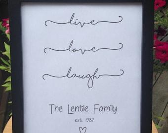 Live Love Laugh Family Print, Typography Art Print, Family Room Decor, Live Love Laugh Decor Print, Wall Art