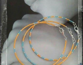 Circles Bracelet Turquoise and Orange x 3 - any size