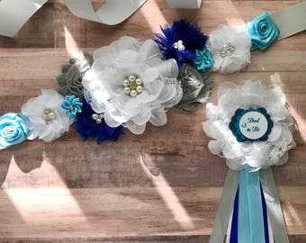 Flower Sash, Bridal, Baby Blue, Maternity Sash Baby Girl Baby Shower Gender Reveal Party Photo Prop Gift