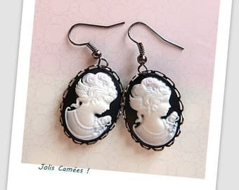 "Black and white resin ""cameo"" earrings!"