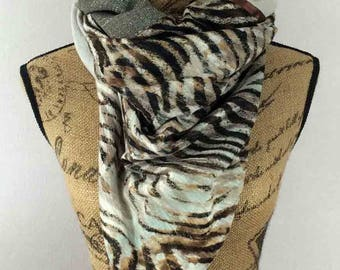 Large square scarf in beige and Brown 140x140cm Albane