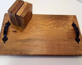 Wooden Serving Tray & Coaster Set