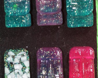 Resinettes, funky Tiki Moai brooches with glitter