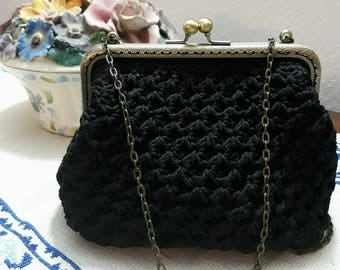 Hand made black clutch