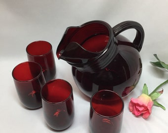 Small Pitcher and Juice Glasses Vinatge Royal Ruby Red by Anchor Hocking - 5 piece set