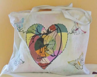 Hand painted shoulder bag with fantasy of Elf and Butterflies