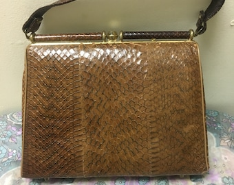 Vintage 1940's snake skin handbag