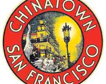 Vintage Style Chinatown San Francisco Travel Decal sticker