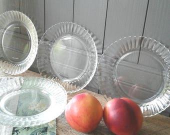 Set of 7 Glass Dessert Plates, Clear, Vintage, Side Plates, Shower Plates, Cottage, French Farmhouse, Tableware