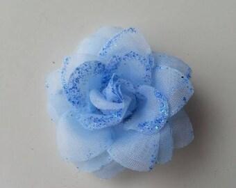 fleur  en tissu pailletée  bleu  50mm