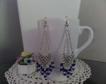 Earrings, dark blue, triangular connector 9 rows, dark blue glass and Crystal seed beads.