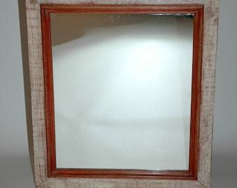 Broken mirror wood red/orange and white patina