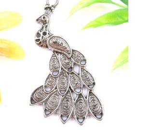1 pendant in matte silver Peacock