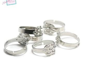 10 blank rings 7 hooks, silver