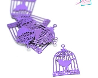 "prints 10/chandelier filigree metal ""birdcage"" 22 x 15 mm, purple"