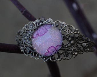 Watercolor rose bronze Cuff Bracelet