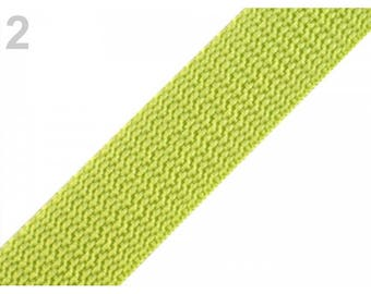 1 meter of 25 mm lime nylon webbing