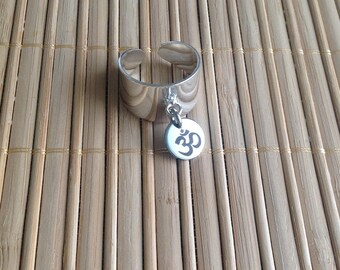 Large ring adjustable silver medal engraved OM symbol