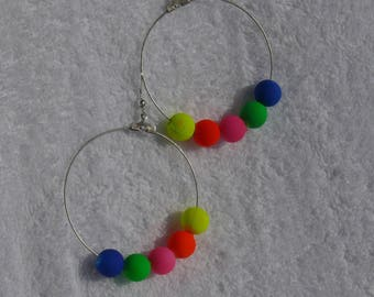 single earring with neon colored beads and
