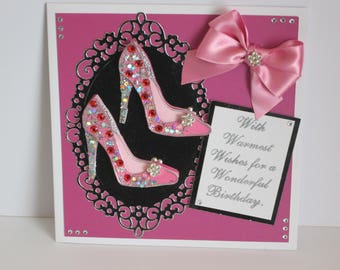 Pink Stiletto Shoes Card