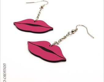 Earrings mouth (pink/black)