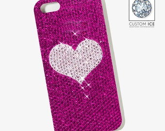 Crystal Covered Heart Device Phone Case
